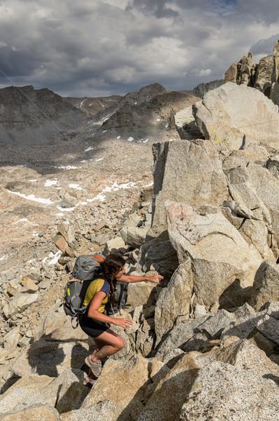 Donna zaino in spalla up ghiacciaio Nevada Foto d'archivio © pancaketom