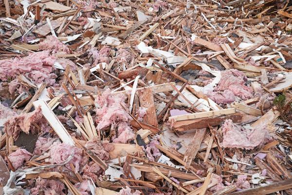 építkezés szigetelés fa fém darabok Stock fotó © pancaketom