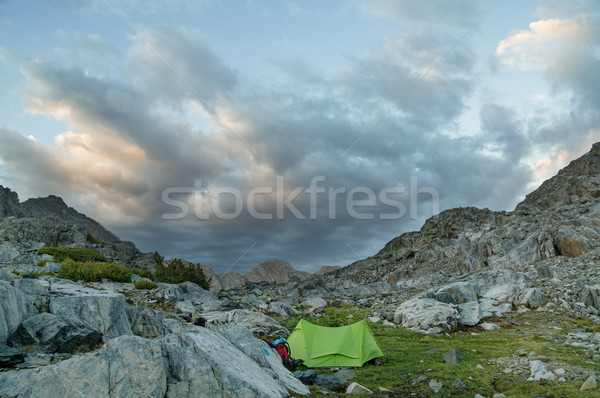 山 キャンプ 表示 緑 テント ストックフォト © pancaketom