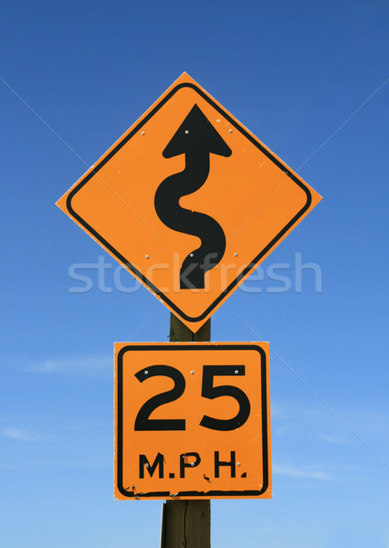 twisty road sign Stock photo © pancaketom