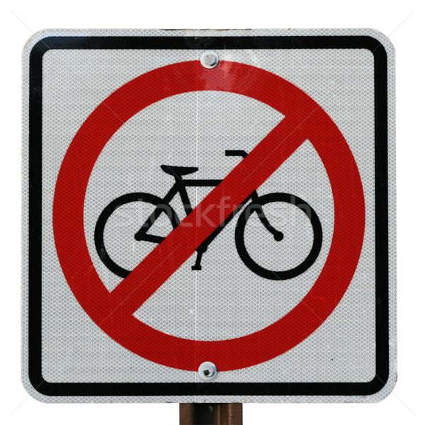 Bisiklet imzalamak yalıtılmış beyaz siyah Stok fotoğraf © pancaketom