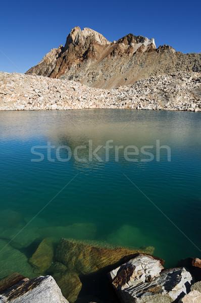 Alpine lac bleu eau ciel bleu réflexion Photo stock © pancaketom