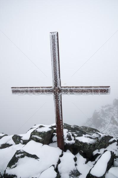 Iced Up Summit Cross Stock photo © pancaketom