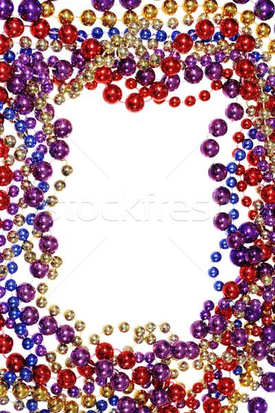 Kraal string grens frame geïsoleerd witte Stockfoto © pancaketom