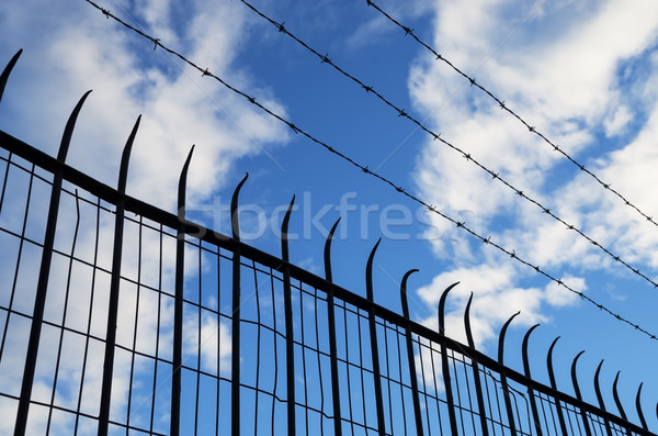 Spiked Fence Silhouette Stock photo © pancaketom