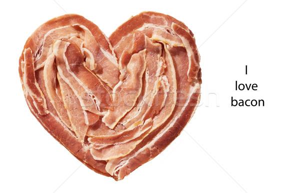 Pancetta cuore greggio isolato bianco alimentare Foto d'archivio © pancaketom