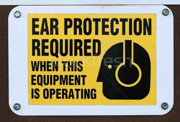 ear protection required sign Stock photo © pancaketom