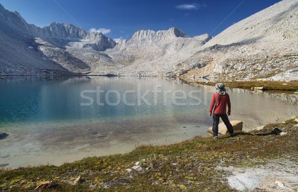 Man on Mountain Lake Shore Stock photo © pancaketom