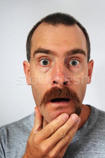 Dengesiz bıyık sürpriz şaşırmış adam daha fazla Stok fotoğraf © pancaketom