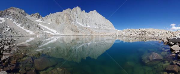 青 山 湖 風景 冷たい パノラマ ストックフォト © pancaketom