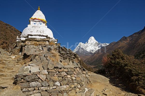 Stupa And Ama Dablam Stock photo © pancaketom