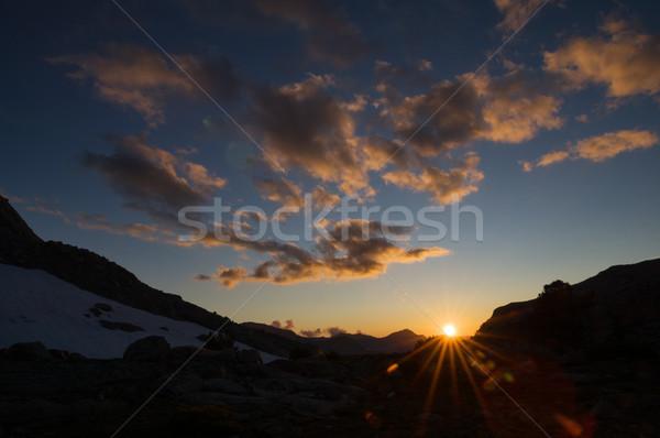 山 日没 ネバダ州 山 ベンチ 峡谷 ストックフォト © pancaketom