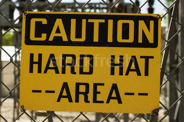 Stockfoto: Voorzichtigheid · teken · Geel · zwarte · keten