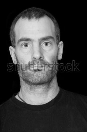 Feketefehér egyenetlen férfi portré középkorú férfi fekete Stock fotó © pancaketom