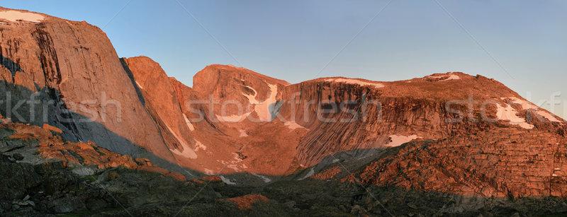 alpenglow on cliffs Stock photo © pancaketom