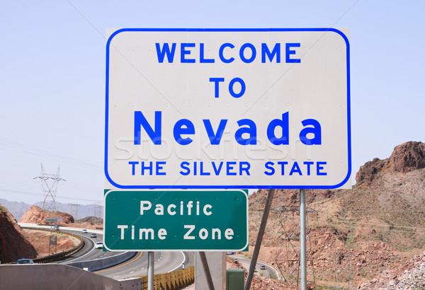 üdvözlet Nevada felirat autópálya Colorado folyó Stock fotó © pancaketom