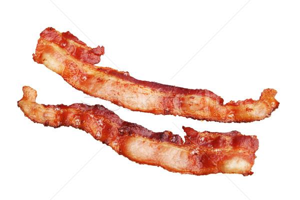 Geïsoleerd spek twee strips gekookt witte Stockfoto © pancaketom