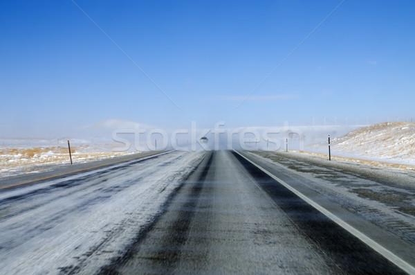 Sneeuw snelweg Wyoming interstate zichtbaarheid Stockfoto © pancaketom