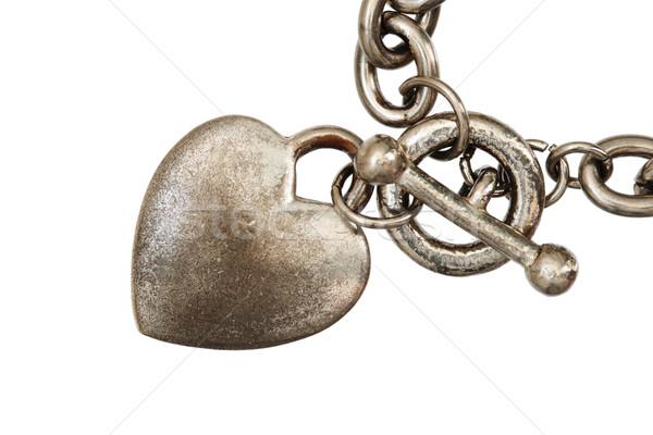 Isolado coração encanto macro velho prata Foto stock © pancaketom
