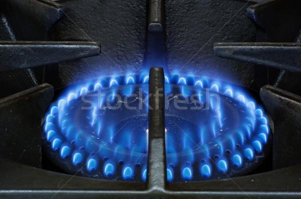 Tűzhely nehéz kötelesség földgáz kék lángok Stock fotó © pancaketom