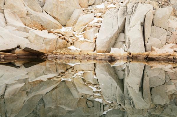 рок отражение Гранит пород снега горные Сток-фото © pancaketom