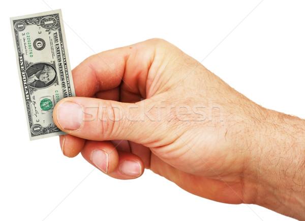 Izolált kéz tart pici dollár számla Stock fotó © pancaketom