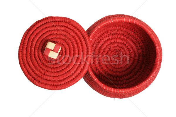 red lidded African basket Stock photo © pancaketom