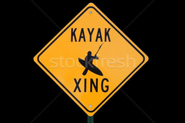 Kayak Crossing Sign Stock photo © pancaketom