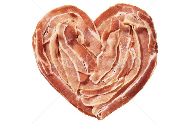 бекон сердце сырой изолированный белый продовольствие Сток-фото © pancaketom