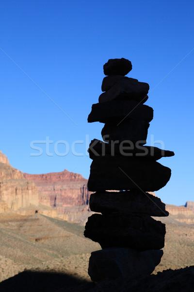 rock cairn silhouette Stock photo © pancaketom