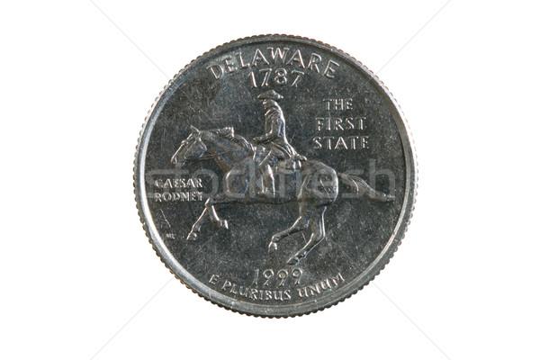 Aislado Delaware trimestre moneda blanco plata Foto stock © pancaketom