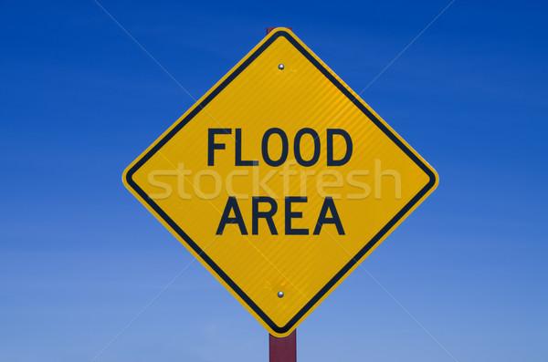 Inundação assinar placa sinalizadora blue sky preto Foto stock © pancaketom