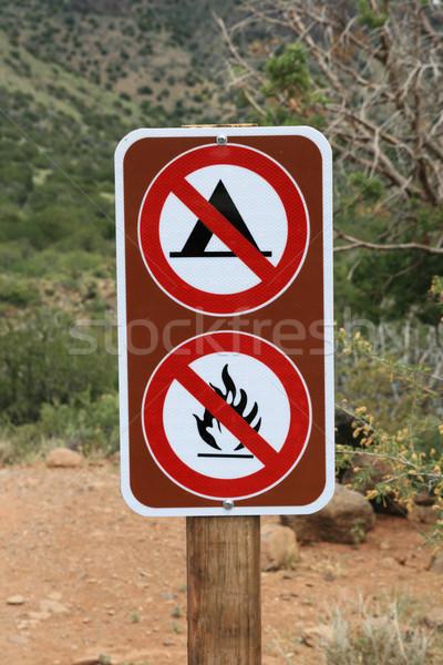 no camping no fires sign Stock photo © pancaketom