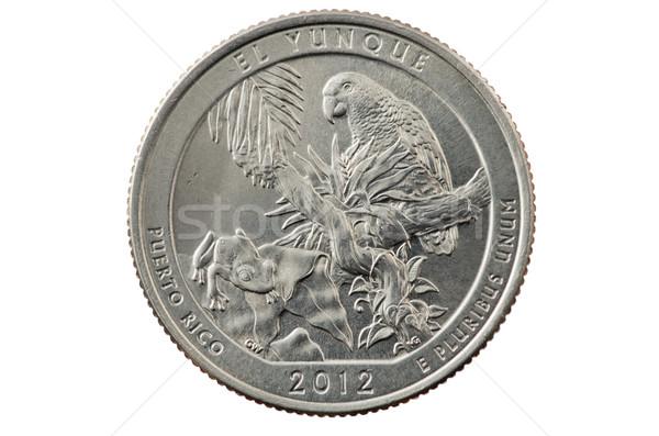 квартал монеты Пуэрто-Рико изолированный белый лягушка Сток-фото © pancaketom
