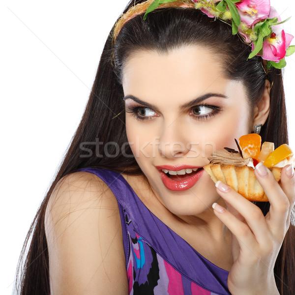 Jonge mooie brunette fruitcake geïsoleerd witte Stockfoto © pandorabox