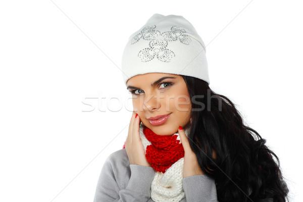 Fotoğraf güzel kız kış elbise kadın mutlu Stok fotoğraf © pandorabox