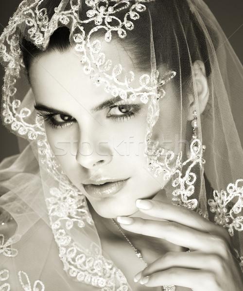 Düğün dekorasyon kız kadın saç güzellik Stok fotoğraf © pandorabox