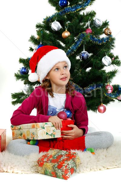 Küçük güzel kız noel ağacı yalıtılmış beyaz ağaç Stok fotoğraf © pandorabox
