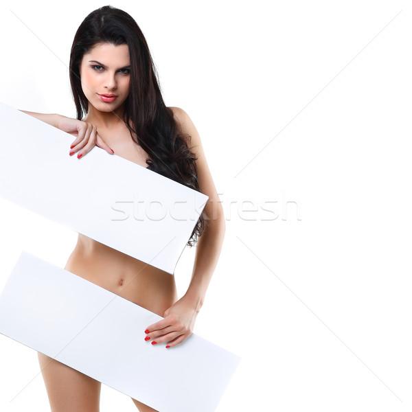 Genç güzel esmer afiş yüz moda Stok fotoğraf © pandorabox