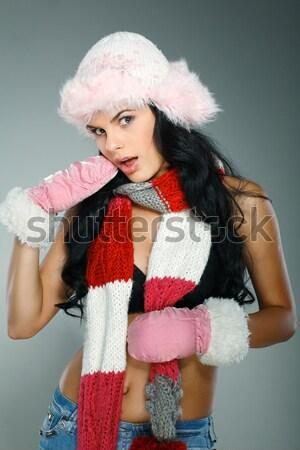 Beautiful and sexy woman wearing santa clause costume Stock photo © pandorabox