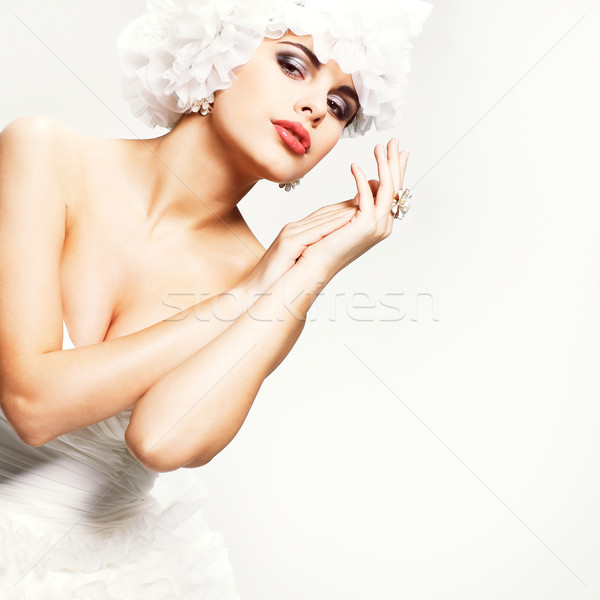 A beautiful sexual girl is in a wedding-dress, wedding decoration Stock photo © pandorabox