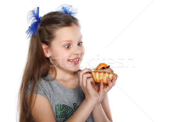 Gelukkig kind fruitcake voedsel gezicht mode Stockfoto © pandorabox