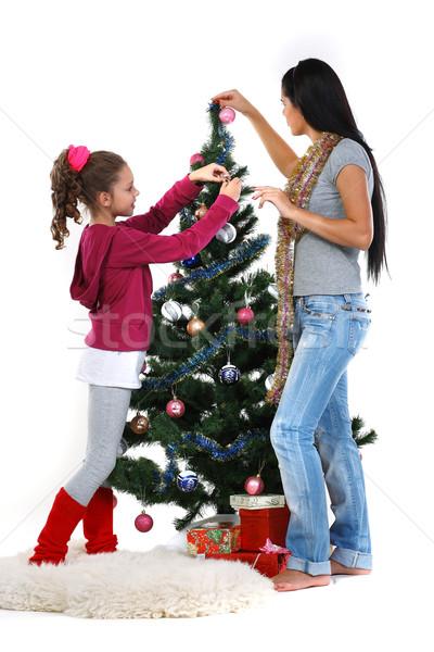 Stock fotó: Anya · lánygyermek · karácsonyfa · ajándékok · izolált · fehér