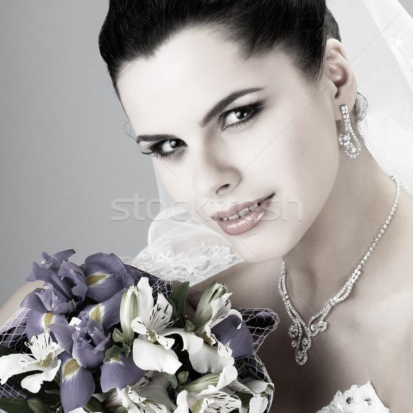Hochzeit Dekoration Mädchen Frauen Natur Haar Stock foto © pandorabox