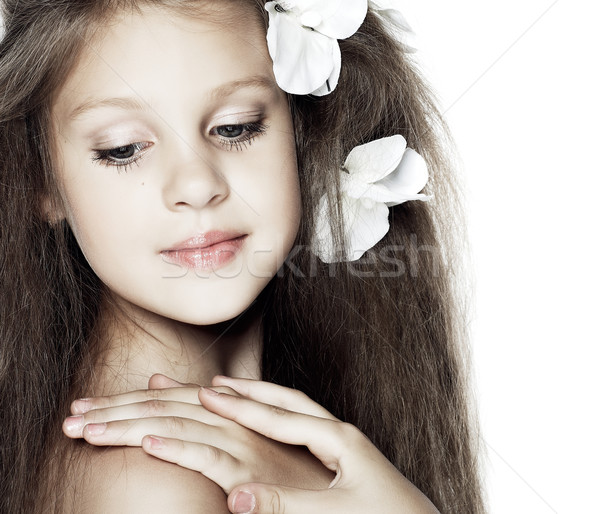 Portre güzel küçük kız kız çocuk dudaklar Stok fotoğraf © pandorabox