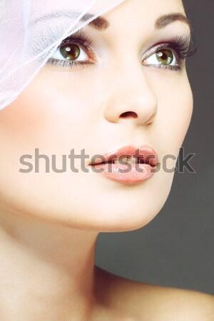 Duygular kozmetik çiçek yüz moda gözler Stok fotoğraf © pandorabox