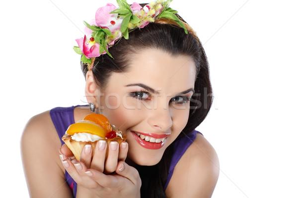 小さな 美しい ブルネット フルーツケーキ 食品 顔 ストックフォト © pandorabox