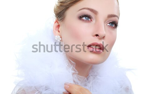 Portrait of beautiful sexual brunette on a grey background, emotions, cosmetics Stock photo © pandorabox