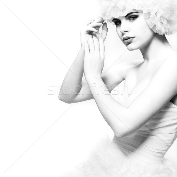 A beautiful sexual girl is in a wedding-dress, wedding decoratio Stock photo © pandorabox