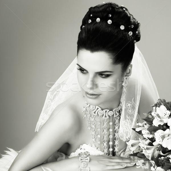 ストックフォト: 結婚式 · 装飾 · 少女 · 女性 · 自然 · 髪